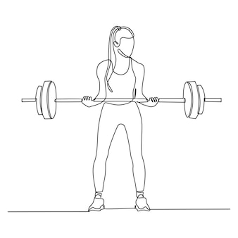 Continuous line drawing of a woman lifting weights isolated on white background