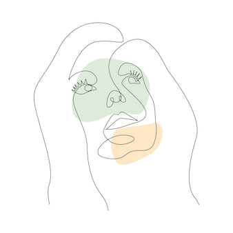 Лица женщины непрерывного рисования линий с абстрактными формами. портрет в минималистском стиле