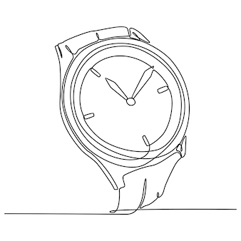 Continuous line drawing of a wristwatch vector illustration