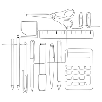 Continuous line drawing writing tool school concept vector illustration