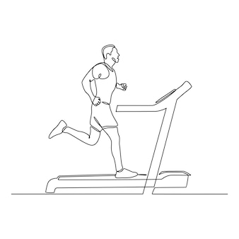 Continuous line drawing of a young man running on a treadmill vector illustration