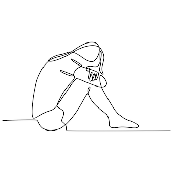 Continuous line drawing of young woman feeling sad tired and worried suffering from depression