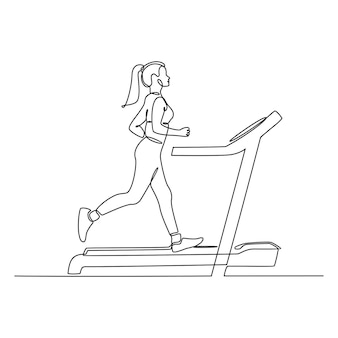 Continuous line drawing of a young woman running on a treadmill vector illustration