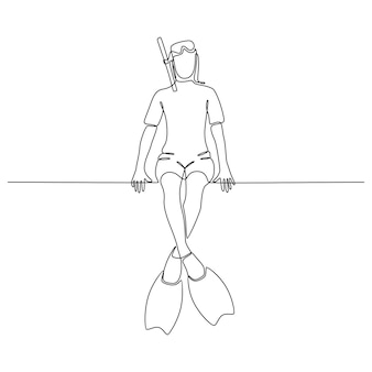 Continuous line drawing of a young woman with diving equipment isolated on a white background vector