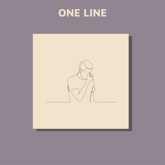 Continuous line drawings of man feeling sad  tired and worried about suffering from depression in mental health