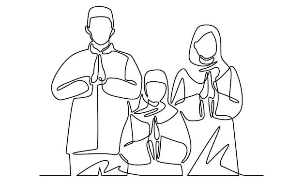 Continuous line of family celebrates eid aladha eid mubarak together illustration