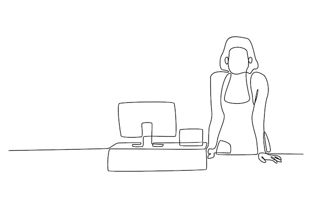 Continuous line of female cashiers in supermarkets vector illustration