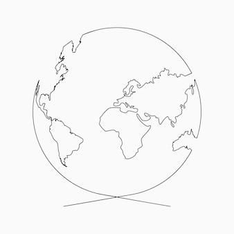 Сплошная линия глобуса планета земля рисование одной линии handdrawn иллюстрация для логотипа