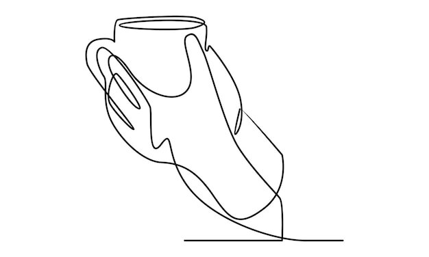 Continuous line of hand holding cup of coffee illustration