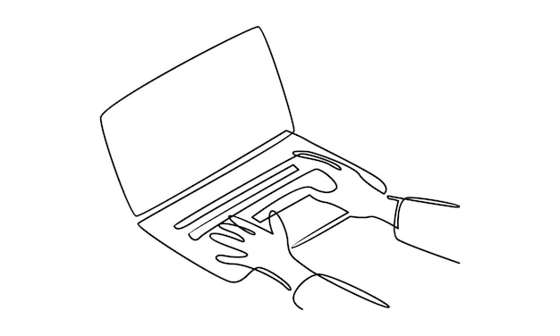 Continuous line of hand working on laptop illustration