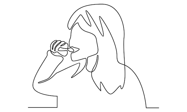 Continuous line of little girl brushing teeth illustration