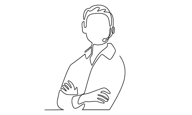 Continuous line of man customer service operator support illustration