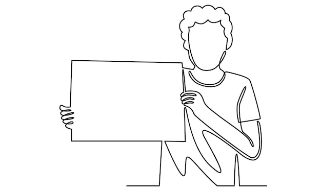 Continuous line of man holding a white board illustration