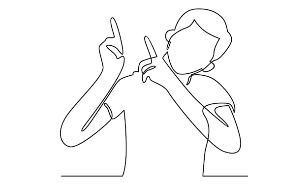 Continuous line of man pointing away hands illustrati