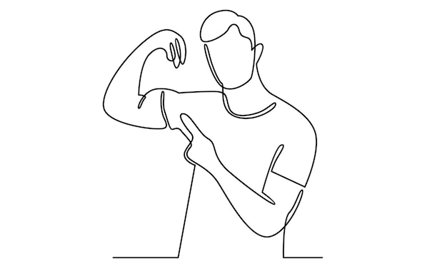 Continuous line of man shows his muscles illustration