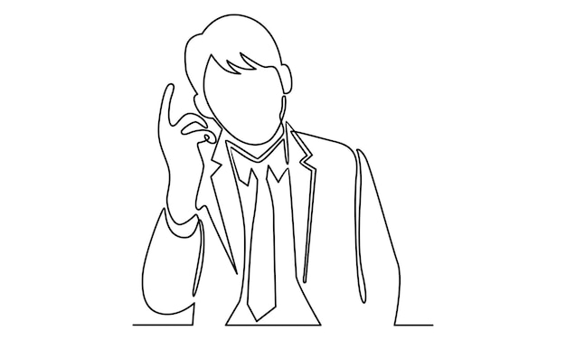 Continuous line of man standing thinking get idea illustration