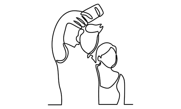 Continuous line of man take a selfie with girlfriend illustration