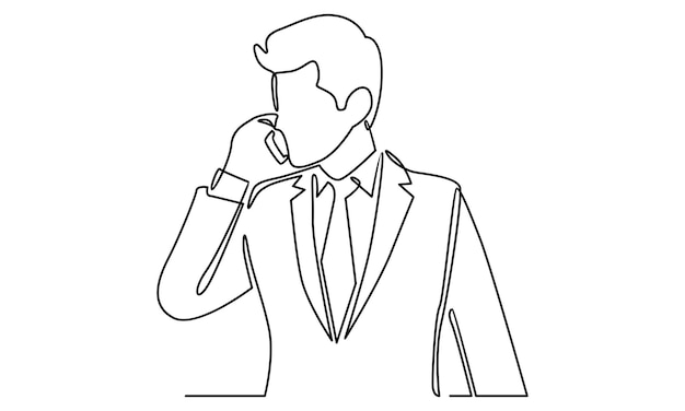 Continuous line of man talking on phone illustration