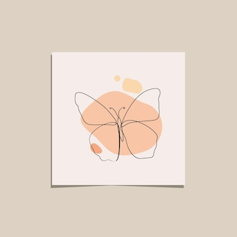 Continuous line of minimalist butterfly animals