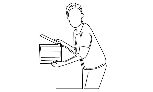 Continuous line of movie film director holding up a clapboard illustration
