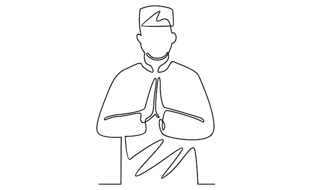 Continuous line of muslim man illustration