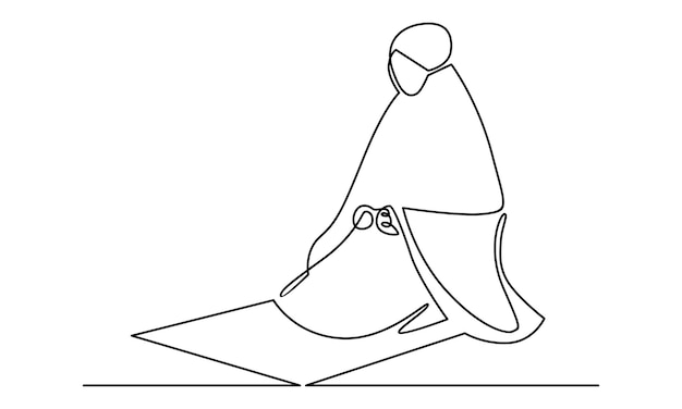 Continuous line of muslim woman praying illustration