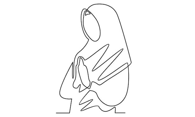 アラビア語の女性の連続線はヒジャーブのイラストを着用します