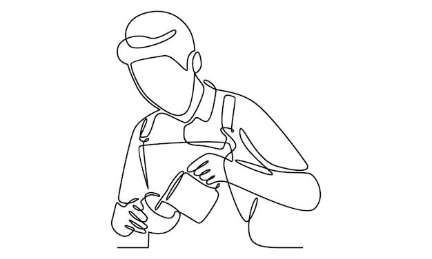 Непрерывная линия бариста наливает молоко в кофе иллюстрации