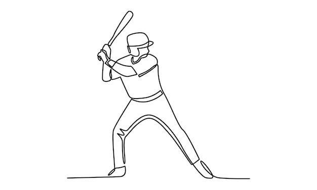 야구 선수 그림의 연속 라인