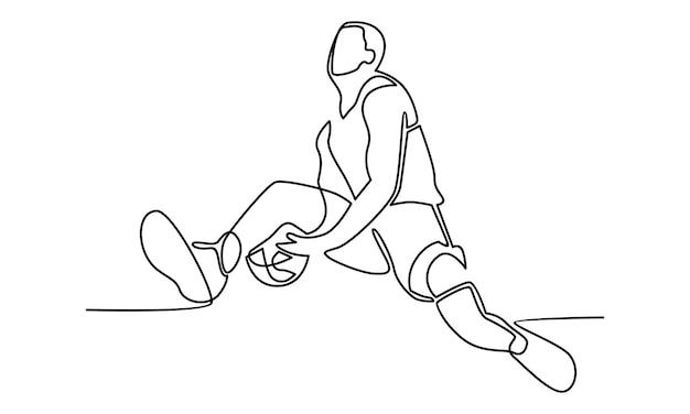 Непрерывная линия иллюстрации баскетболиста