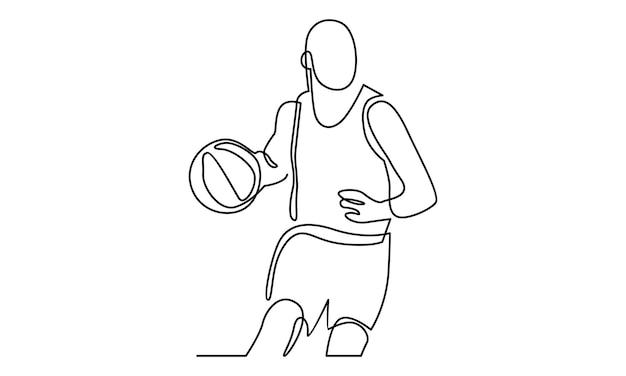 バスケットボール選手のイラストの連続線