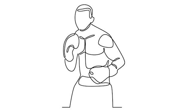 Непрерывная линия иллюстрации персонажа бокса