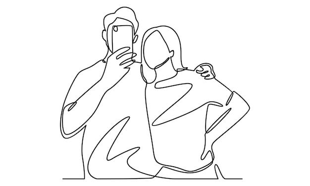Непрерывная линия селфи мальчика с иллюстрацией девушки