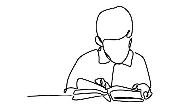 イラストを勉強している少年の連続線