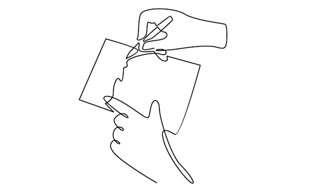 Непрерывная линия бизнесмена рука подписывает деловой контракт бумажный лист иллюстрации
