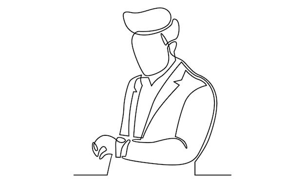 ビジネスマンの連続線は時計のイラストを見る