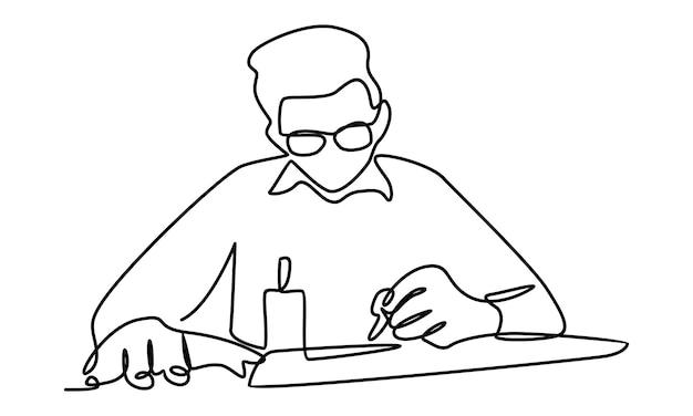 회사 계획 그림을 작성하는 사업가의 연속 라인