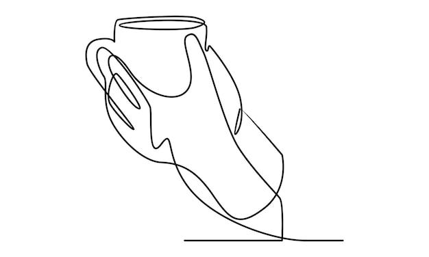 一杯のコーヒーのイラストを持っている手の連続線