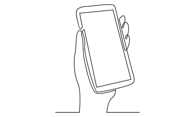 携帯電話のイラストを持っている手の連続線
