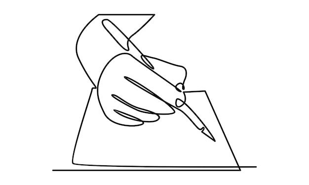 Непрерывная линия руки написать на бумаге иллюстрации