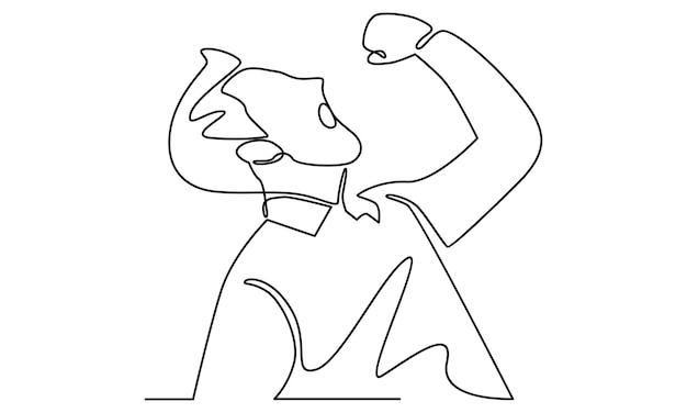 Непрерывная линия счастливого человека подняла руки вверх иллюстрации