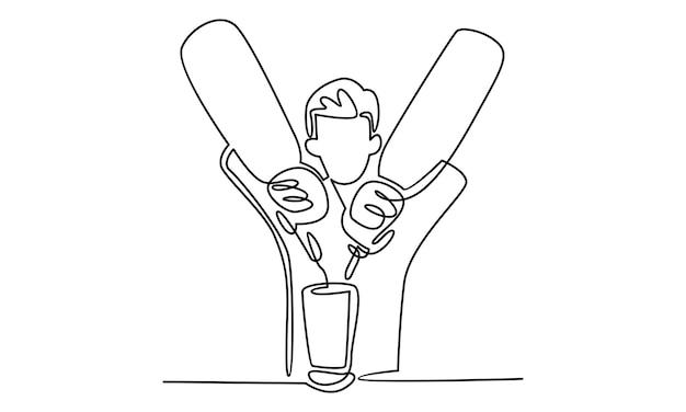 カクテルイラストを注ぐ男性バーテンダーの連続ライン