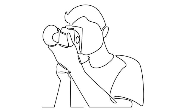 Непрерывная линия человека, держащего иллюстрацию цифрового фотоаппарата