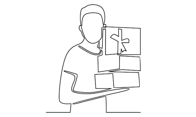 Непрерывная линия человека, держащего иллюстрацию подарочной коробки