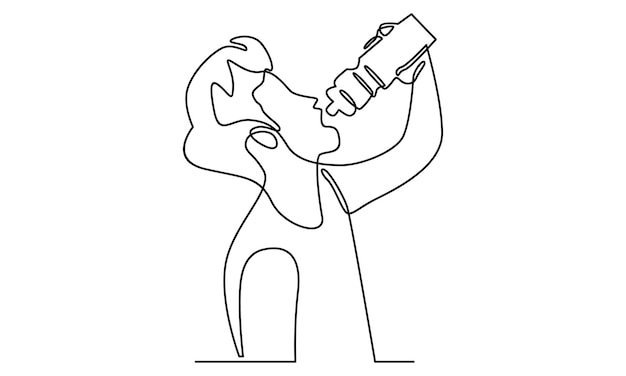 Непрерывная линия человека пьет воду из бутылки
