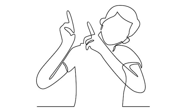 Непрерывная линия человека, указывающего руками illustrati