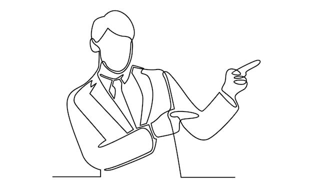 멀리 손 그림을 가리키는 남자의 연속 라인
