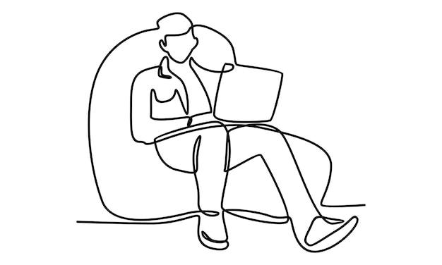노트북 컴퓨터 일러스트와 함께 앉아 있는 남자의 연속 라인