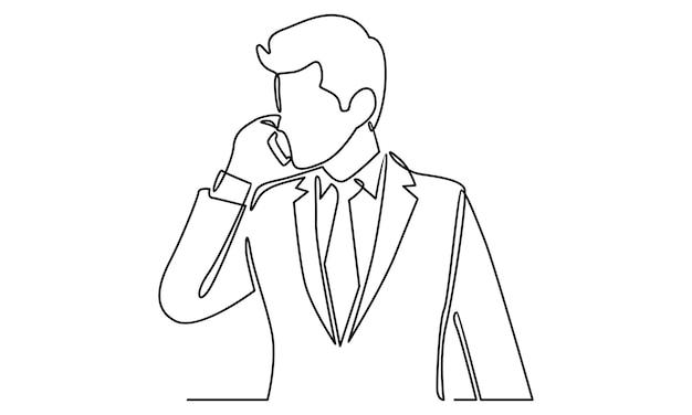 Непрерывная линия человека, говорящего по телефону