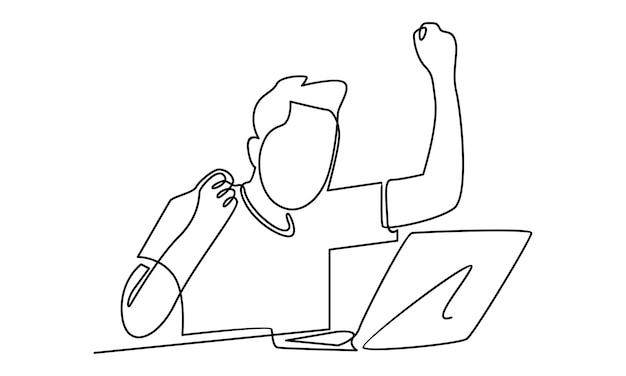 ラップトップコンピューターのイラストに取り組んでいる男の連続線